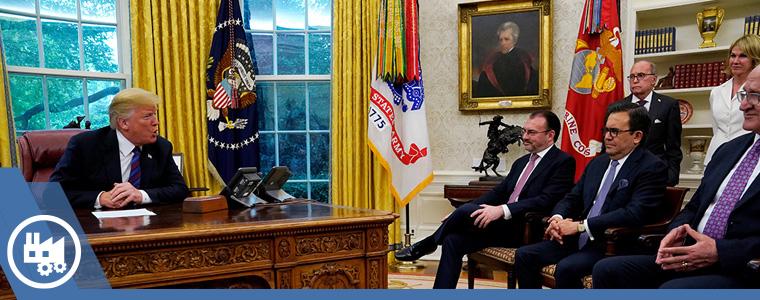 Equipo de negociadores mexicanos reunidos en la oficina de Donald Trump