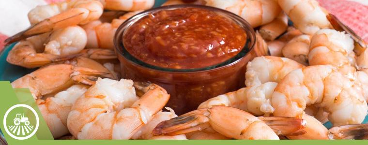 Plato con camarones y salsa